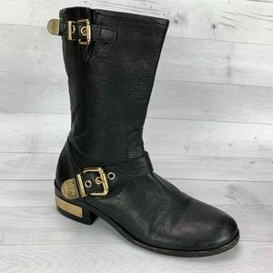 Vince Camuto Winchell Boots Black Gold Tone Moto